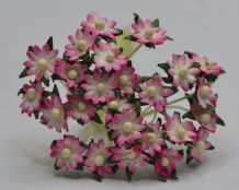 ROSY PINK SINGLE-LAYERED Miniature Daisy (XS) Mulberry Paper Flowers